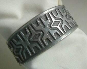 "Mylius Brodrene Norwegian Pewter 1960s ""Maze"" Cuff Bracelet"