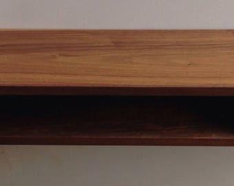 Solid walnut floating shelf with drawer