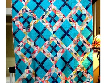 Crossing Waves Quilt Pattern PDF by Four Robbins Designs - Immediate Download