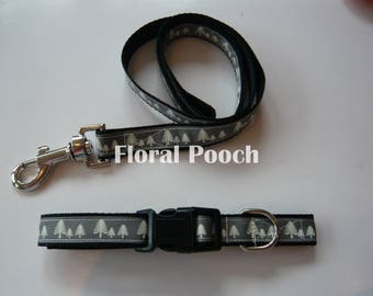 Dog Collar and Leash by Floral Pooch - 017 Grey Trees (Christmas)