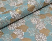 Recycled Kraft Paper, Gift Wrap - Blue Roses
