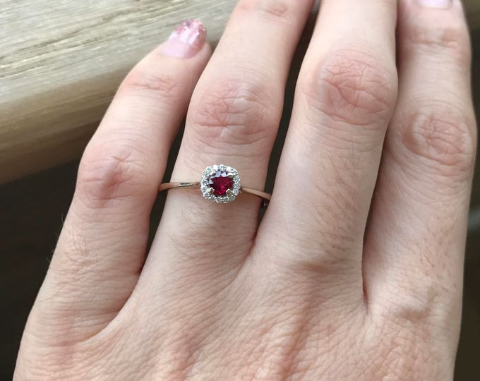 Ruby Engagement Ring- Dainty Ruby Promise Ring- Halo Ruby Anniversary Ring- Simple Ruby Engagement Ring- July Birthstone Ring