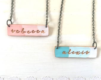 Nameplate Necklace for girl, 8 years old girl birthday present, Ombre, Colorful, Fun girl jewelry, Name, personalized, Sisters