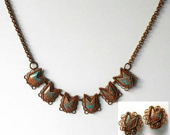 Vintage Choker Necklace Earrings Set Demi Parure Copper Turquoise Blue Confetti Thermoset.