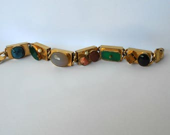Vintage Bracelet with Many Different Colored glass Cabochons, Gemstones Gold Tone