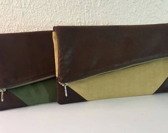 Foldover Clutch, Linen and Leather Clutch, Brown Vegan Leather, Green Clutch, Gold Clutch, FREE SHIPPING
