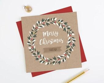 Personalised Dad Christmas Card Kraft Wreath
