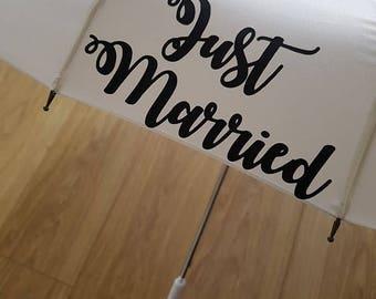 Wedding Umbrella, Just Married Umbrella, Personalised Umbrella, Bride and Groom Umbrella, Wedding Parasol, Photography Umbrella