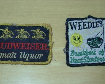 2 very distressed 1970's jacket patches Weedies Breakfast of Headstarters and Budweiser malt liquor