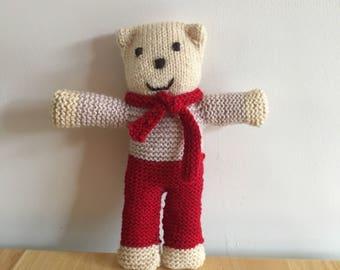 Knitted teddy bear, teddy bear, childs teddy bear, handmade teddy, toy teddy bear, toy teddy.