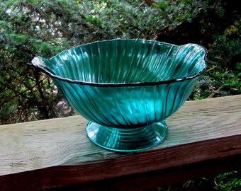 ultramarine swirl fruit bowl with tab handles
