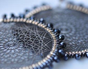 Black and gold Delica miyukis, Faceted blue crystals, Lasercut black center, very light, beautiful beaded, handmade Mandala/ Dangle earrings