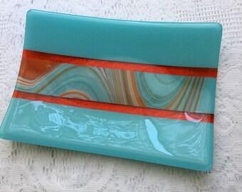 Fused Glass Tray, Turquoise Orange Art Glass Dish, Southwest Home Decor