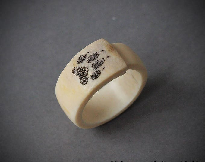 Featured listing image: Size 10 US, Wolf paw ring, Antler ring, Antler jewelry, Wolf ring, Wolf jewelry, Dog ring, Animal ring, Bone ring, Scrimshaw ring, Animal