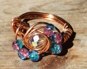 US size 7.5 copper pink and blue beads and large focal white multi faceted bead ring with swirls beach jewelry woman copper jewellery