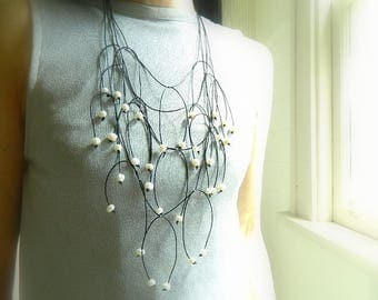 Leather necklace for Women Statement Fringe necklace Extra Long Necklace pearl leather necklace Bib Necklace Modern necklace wife gift