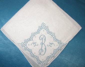 Handkerchief, Bridal, Initial B Letter Light Blue