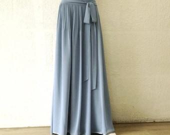 Dusty Blue Bridesmaid Skirt. Dusty Blue Floor Length Skirt. Long Evening Skirt. Chiffon Maxi Skirt.