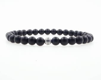 Men's 6mm Matte Onyx Beaded Bracelet