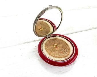 Vintage Red Lucite Mirrored Powder Compact