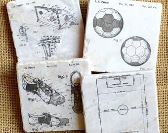 Soccer Decor- Soccer Gift, Sport Decor, Soccer Coaster, Man Cave Coaster, Man Cave Decor, Soccer, Father Day Gift, Mens Gift, Soccerball