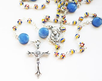 Rosary--Contemporary Handmade Rosary--Blue--Yellow--Hand Beaded Rosary--Spiritual--Catholic--Handmade--Prayer Beads--Boho--Inspirational