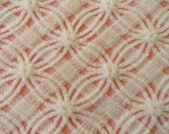 "INVENTORY SALE...Pink Chenille Vintage Morgan Jones Wedding Ring and Lattice Bedspread Fabric Piece...18 x 24"""