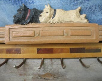 Vintage Scottie Dog Tie Rack Black And White Scotties Scotch Terrier Dog Tie Holder