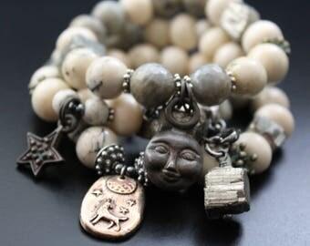 African Opal Bracelet, Man in the Moon Charm Bracelet, Pyrite and Labradorite Bracelet, Boho Tribal Bracelet, Stretch Gemstone Bracelet