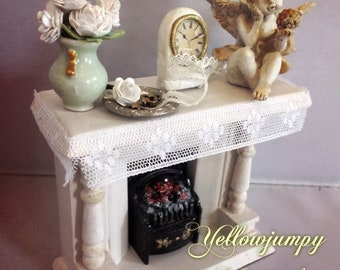 1/12th Dollhouse Miniature Shabby chic Fireplace and accessories