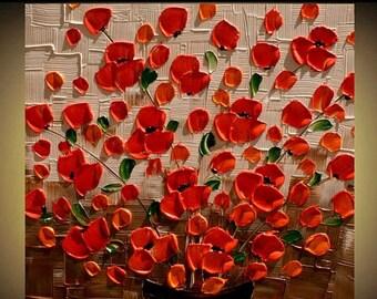 SALE Original  Modern  Orange Flowers  Acrylic  Palette Knife Floral Fine Art    Painting MADE2ORDER