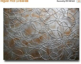 SALE Original  Abstract  Gold  Silver  Metallic  Acrylic  Impasto Textured  Palette Knife Painting.