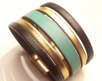 Black Gold Leather cuff and mint with clasp magnetic 30mm wide