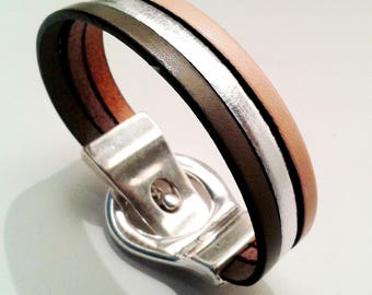 Bracelet leather silver slate and eggshell with silver belt magnetic clasp