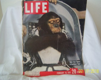 February 10, 1961 Life Magazine Chimpanzee Back from Outer Space
