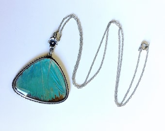 Antique 1920's Art Deco Morpho butterfly wing pendant Sterling Silver