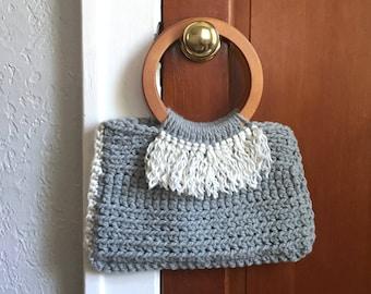Crochet Tote / Gray Tote Bag / Fringe Detail / Wooden Handle
