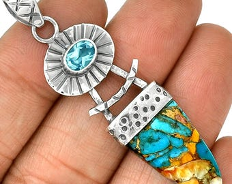 "Spiny Oyster Arizona Turquoise & Blue Topaz Gemstone Pendant  925 Sterling Silver 2 3/8"" Jewelry P22"