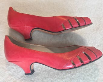 60s Italian Leather Coral Peep Toes - Size US 5.5