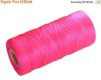 ON SALE 15 Meters Crochet Thread, Nylon Cord non waxed, Macrame Crochet Cord - Neon Pink