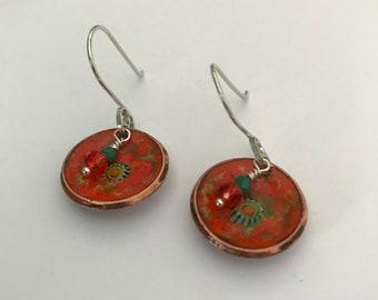 Enameled Copper Penny Earrings