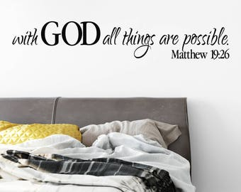 Matthew 19:26, Wall Decal, Scripture, Wall Vinyl, Bible Verse, Vinyl Decal, With God all things are possible, MAT19V26-0001