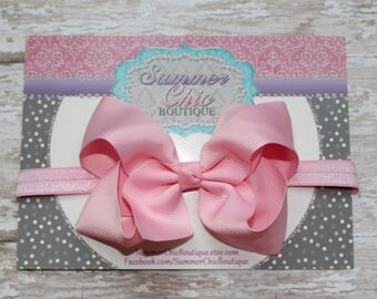 Baby Headband Bow, Infant Headband, Newborn Headband - Light Pink Bow Headband, Headband, Boutique Bow on Fold over elastic