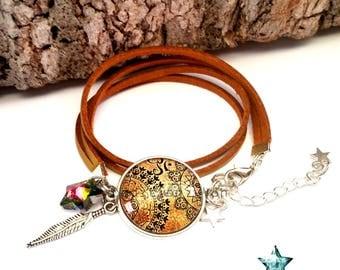 Suede strap wrap gold, Bohemian, ethnic, toho, boho, Native American jewelry cabochon
