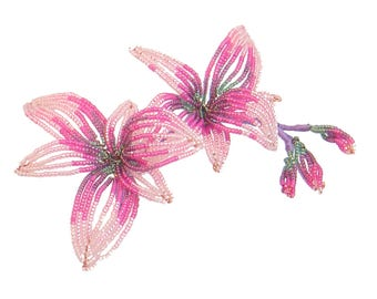 Beaded Flowers kit - Cooktown Orchid (with artistic wire and Japanese glass seed beads)