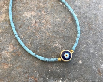 bracelets afghan gemstone beads beaded evileye gold plated thin simple turquoise blue evil eye charm hand made jewelry light blue