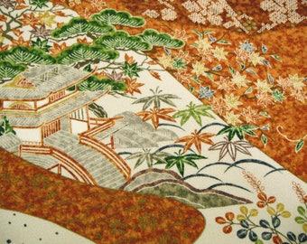 Kyo Yuzen Floral Gosho Guruma Vintage Japanese Tango chirimen silk kimono fabric