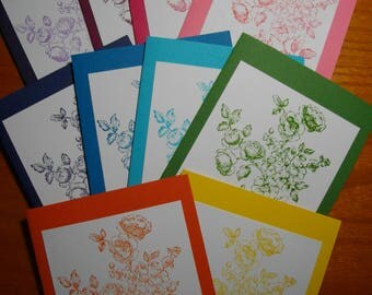 Branch of Flowers (hand-stamped) 10-Card Box
