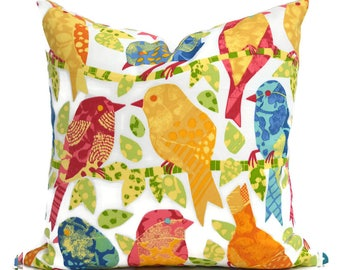 Indoor Outdoor Pillow Covers ANY SIZE Decorative Pillows Bird Pillow Turquoise Pillows Richloom Outdoor Ash Hill Garden