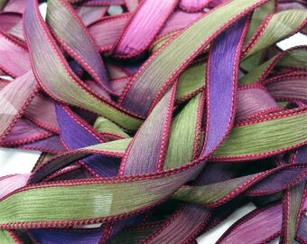 "POMEGRANATE 42"" hand dyed wrist wrap bracelet silk ribbon//Yoga wrist wrap bracelet ribbons//Silk wrist wrap ribbon// By Color Kissed Silk"